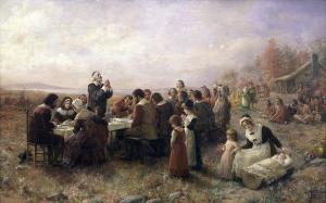 The First Thanksgiving at Plymouth (1914), par Jennie A. Brownscombe, Stedelijk Museum De Lakenhal  http://www.lakenhal.nl/persberichtendetail.php?id=144